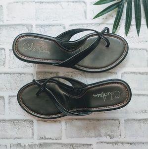 COLE HAAN Black & silver leather wedge flip flops